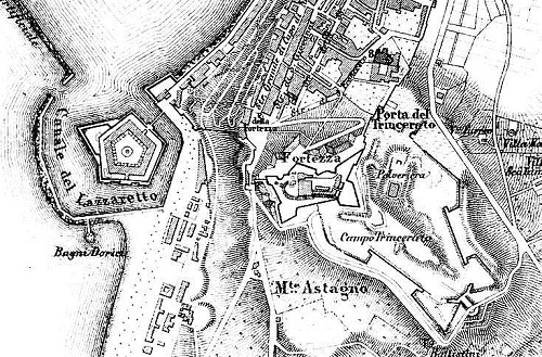 Hystorical map of the Cittadella of  Ancona