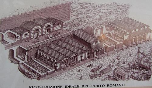 ricostruzione ideale del porto romano di Ancona